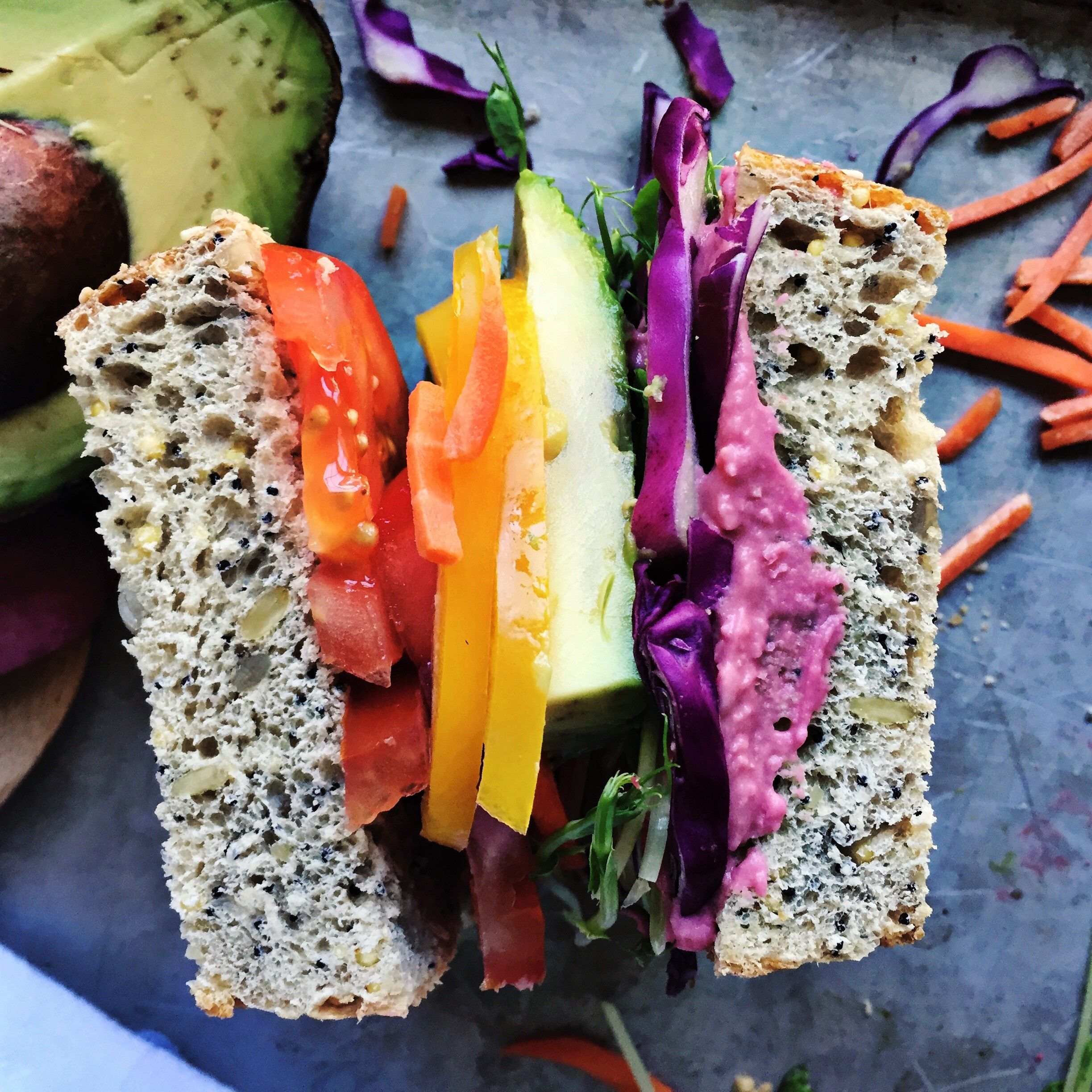 Rainbow Sandwich with Beet Hummus