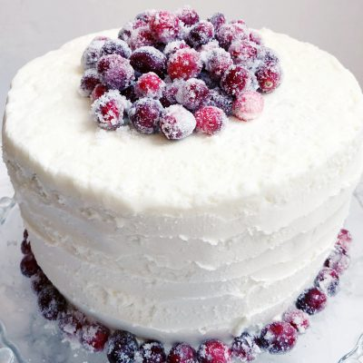 Frosted Cranberry White Chocolate Cake