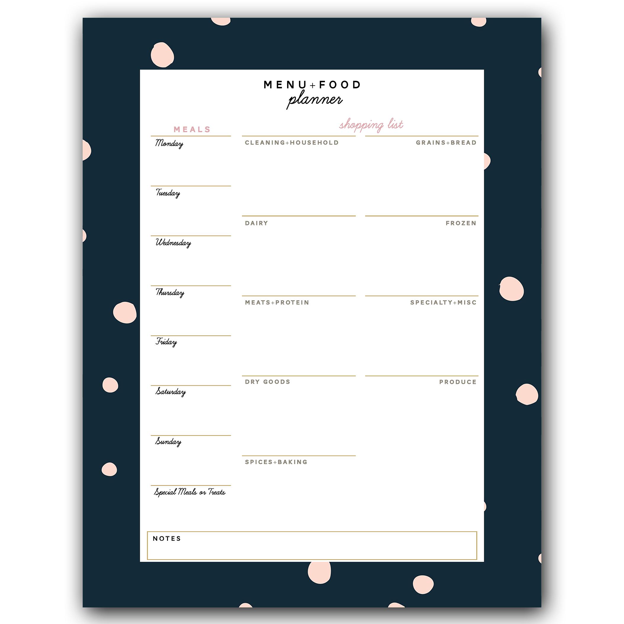 large menu planning notepad plum street collective