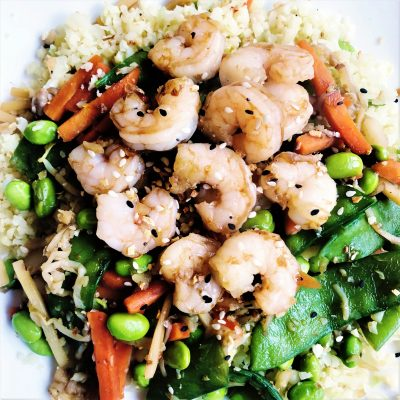 Teriyaki Shrimp Stir Fry with Cauliflower Rice