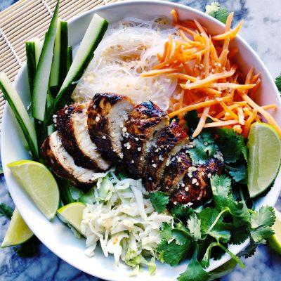 Vietnamese Lemongrass Chicken and Noodle Bowls