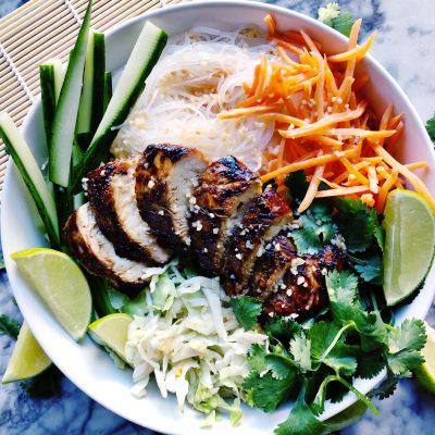 Vietnamese Lemongrass Chicken and Noodle Bowls