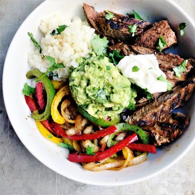 Cauliflower Rice Steak Fajita Bowls