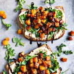 Butternut Squash, Arugula, and White Bean Hummus Toasts